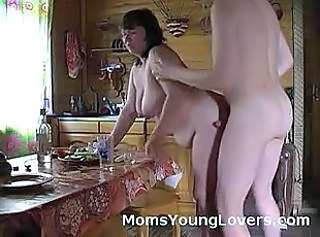 Amateur  Homemade Kitchen Mature Mom Old and Young