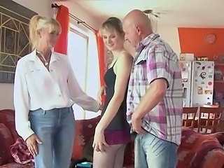 Mom Old and Young Teen Threesome