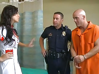 Brunette  Nurse Pornstar Prison Uniform