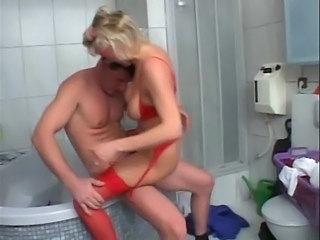 Bathroom Blonde German Lingerie Mature Mom Stockings