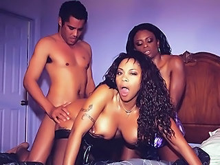 Doggystyle Ebony Hardcore  Threesome
