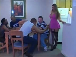 Amazing Gangbang Interracial  Stockings Wife