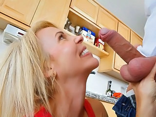 Blonde Blowjob Kitchen  Pornstar
