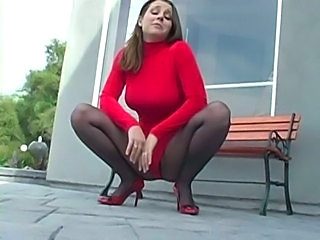 Big Tits  Outdoor Pantyhose