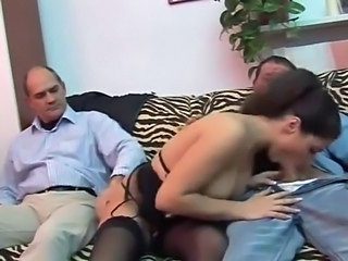 Big Tits Blowjob Brunette Handjob Italian Lingerie  Stockings Threesome