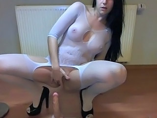 Amateur Amazing Brunette Dildo Lingerie Masturbating  Solo Stockings Toy
