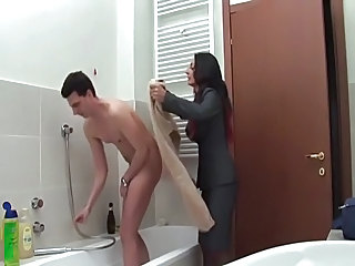 Bathroom European Italian Mature Mom Old and Young