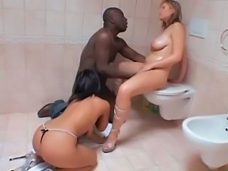 Big Tits Hardcore Interracial  Oiled Pornstar Threesome Toilet