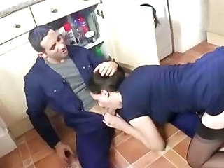 Blowjob British Clothed European Kitchen  Stockings