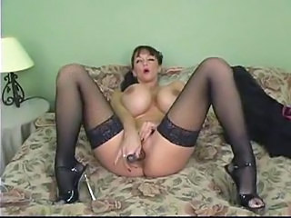 Big Tits Masturbating  Solo Stockings Toy