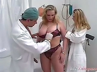 Big Tits Blonde Doctor Lingerie  Threesome