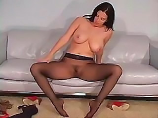 Big Tits Brunette Legs  Natural Pantyhose Solo