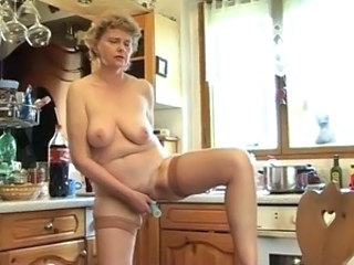 Kitchen Masturbating Mature Mom  Stockings Toy