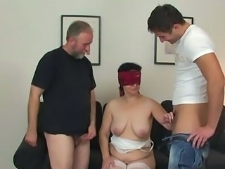 Daddy Family Handjob Mature Mom Older Old and Young  Threesome