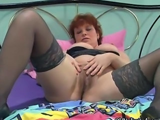 Masturbating Mature Redhead Stockings Wife