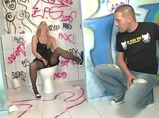 Fetish Masturbating  Stockings Toilet