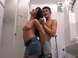 Bathroom Brunette Hardcore Italian  Small Tits