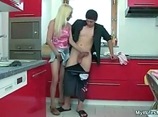 Amateur Blonde Handjob Kitchen  Mom Skinny