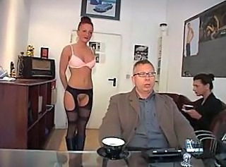 German  Office Secretary Stockings Threesome