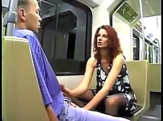 German Handjob  Public Stockings