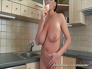 MILF pornstar pandora alone at home