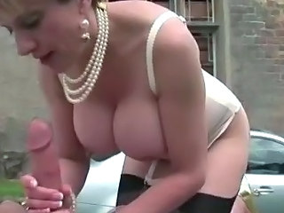 Big Tits Blowjob Lingerie Mature Outdoor