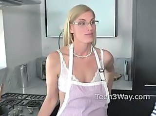 Blonde Glasses Kitchen Lingerie  Mom Small Tits