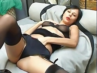 Amazing Cute Lingerie Masturbating  Solo Stockings