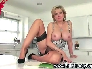 Big Tits British European Kitchen  Stockings