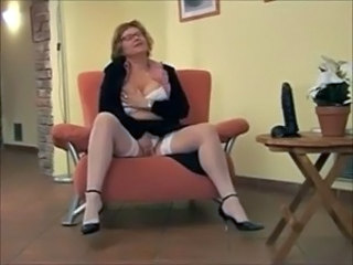 Dildo Glasses Masturbating Mature Stockings Toy