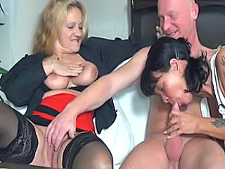 Amateur Blowjob European German Mature Older Stockings Threesome