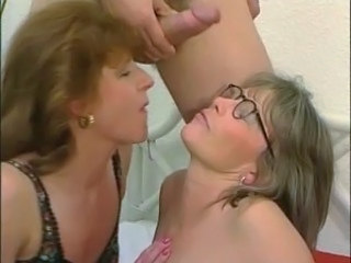 Cumshot Facial Glasses Mature Threesome