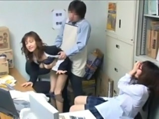 Asian Clothed Japanese  Office Teen Threesome