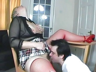 Chubby Hairy Licking  Stockings