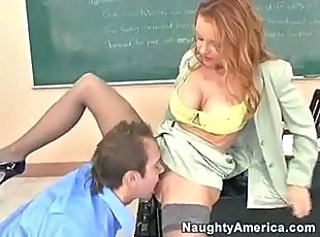 Amazing Clothed Licking  School Stockings Teacher