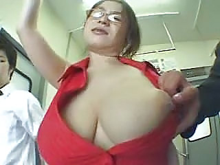 Asian Big Tits Glasses  Natural Nipples Public