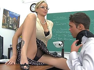 Amazing Blonde Glasses Lingerie  Panty Pornstar School Teacher