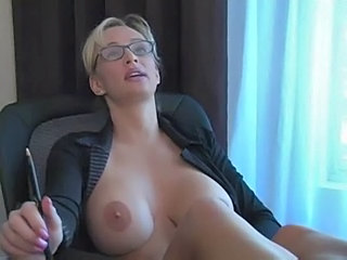 Big Tits Blonde Glasses  Office Silicone Tits