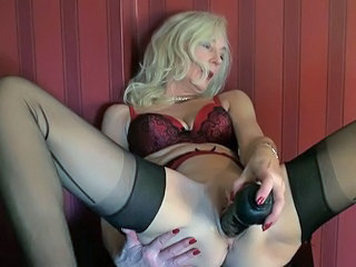 Blonde Dildo Masturbating Mature Stockings