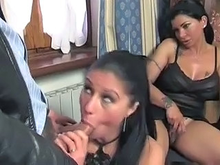 Blowjob Brunette  Tattoo Threesome