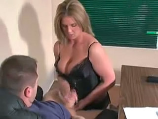 Blonde Handjob  Office