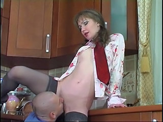 Kitchen Licking Mature Skinny Stockings