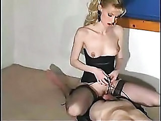 Blonde Corset Handjob  Stockings
