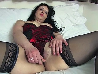 Lingerie Masturbating Mature Stockings