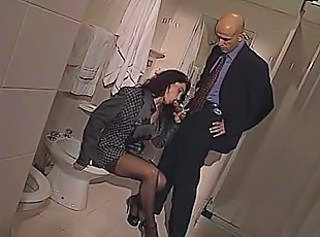 Blowjob Clothed  Stockings Toilet