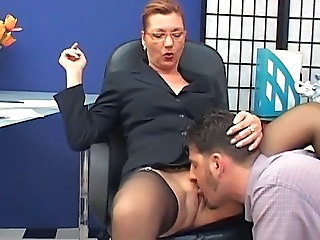 Clothed Glasses Licking Mature Office Old and Young Secretary Stockings