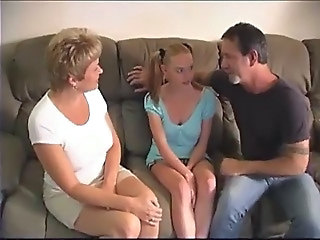 Babysitter  Old and Young Pigtail Teen Threesome Wife
