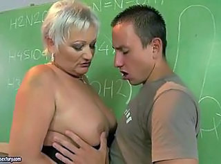 Mature Mom Old and Young School Teacher