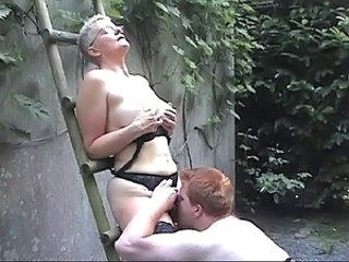 Granny Licking Public Stockings