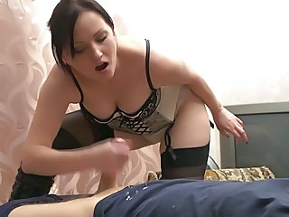 Amateur Cumshot Handjob Lingerie  Stockings